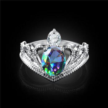 Faux Crystal Gem Oval Sparkly Ring - SILVER 8