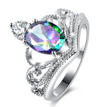 Faux Crystal Gem Oval Sparkly Ring - SILVER 9