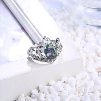 Faux Crystal Gem Oval Sparkly Ring - SILVER SILVER