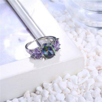 Sparkly Faux Crystal Gem Oval Finger Ring - SILVER 7