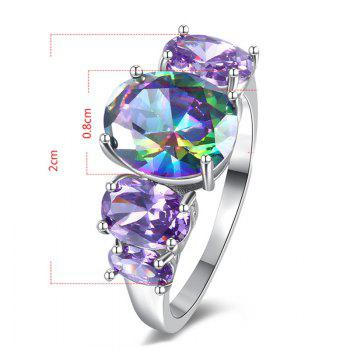 Sparkly Faux Crystal Gem Oval Finger Ring - SILVER 8