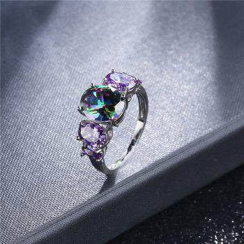 Sparkly Faux Crystal Gem Oval Finger Ring - SILVER 9