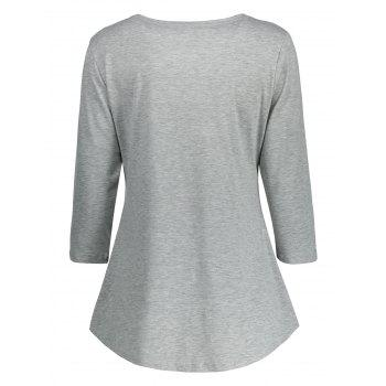 Lace Panel Lace Up Top - GRAY 2XL