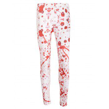 High Waist Blood Splatter Halloween Leggings - WHITE WHITE