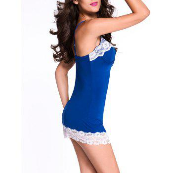 Bodycon Babydoll with Lace - BLUE S