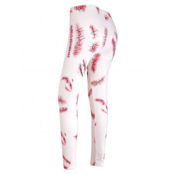 Halloween Party Bloody Wound Print Cosplay Skinny Leggings - WHITE XL