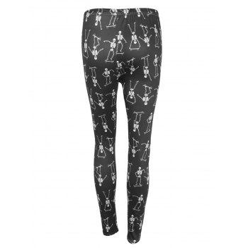 High Waisted Skeleton Print Halloween Leggings - BLACK BLACK