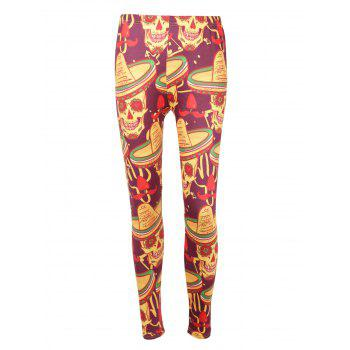 High Waisted Skull Print Halloween Leggings - COLORMIX S