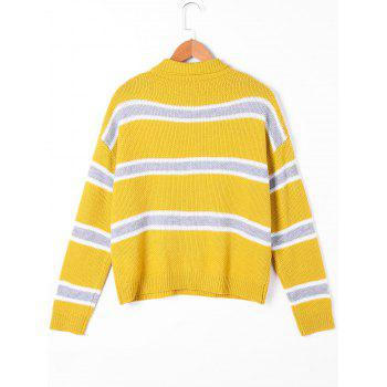 Striped Drop Shoulder Turtleneck Sweater - YELLOW YELLOW