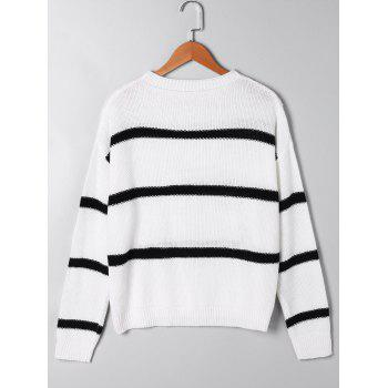 Open Knit Two Tone Sweater - WHITE WHITE