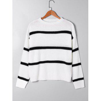 Open Knit Two Tone Sweater - WHITE L