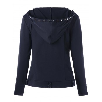 Ring Embellished Zip Up Hoodie - M M