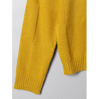 Two Tone Open Knit Sweater - WHITE/YELLOW S