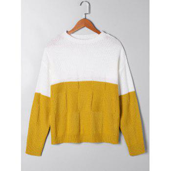 Two Tone Open Knit Sweater - WHITE AND YELLOW L