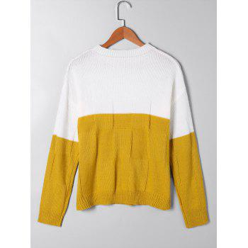 Two Tone Open Knit Sweater - L L