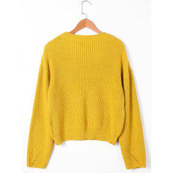 Drop Shoulder Ribbed Cable Knit Sweater - S S