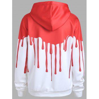 Halloween Blood Print Drawstring Hoodie - RED/WHITE L