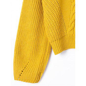Drop Shoulder Ribbed Cable Knit Sweater - YELLOW L