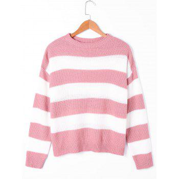 Striped Two Tone Sweater - PINK AND WHITE S