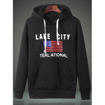 American Flag Graphic Kangaroo Pocket Pullover Hoodie - L L