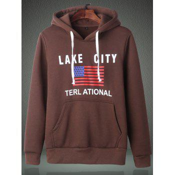 American Flag Graphic Kangaroo Pocket Pullover Hoodie - COFFEE COFFEE