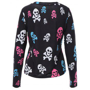 Skull Print Halloween T Shirt - BLACK L