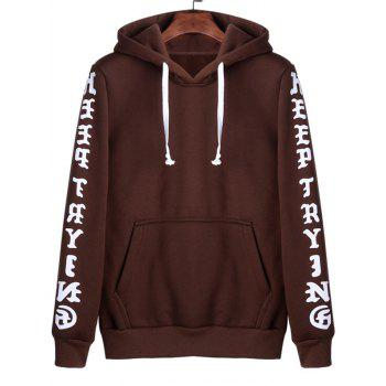 Letters Print Kangaroo Pocket Hoodie - COFFEE 3XL