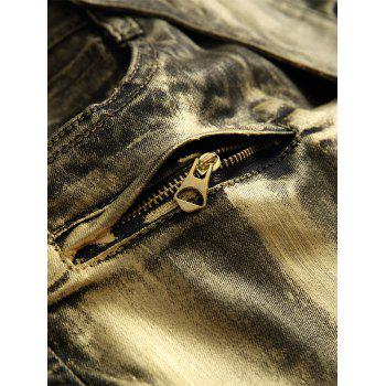 Metallic Color Straight Biker Jeans - GOLDEN GOLDEN