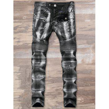 Metallic Color Straight Biker Jeans - SILVER 38