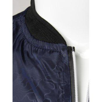 Zipper Up Diamond Bomber Jacket - DEEP BLUE 3XL