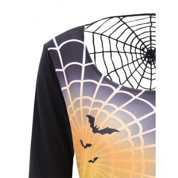 Bell Sleeve Spider Web Print Halloween T-shirt Dress - XL XL