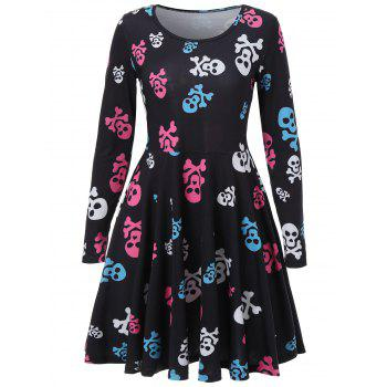 Skull Print Halloween Skater Dress - BLACK BLACK