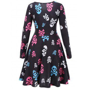 Skull Print Halloween Skater Dress - BLACK M