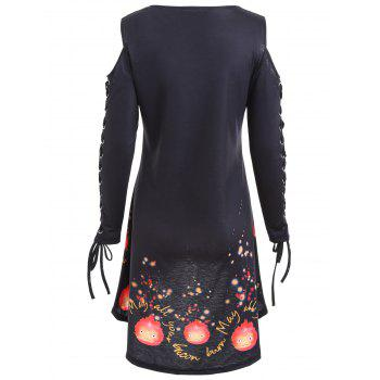 Lace Up Cold Shoulder High Low Halloween Tee Dress - BLACK 2XL