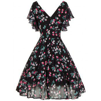 V Neck Cherry Print Cut Out Skater Dress - BLACK S