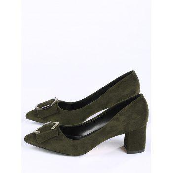 Buckle Strap Metal Pointed Toe Pumps - BLACKISH GREEN 38