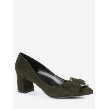Buckle Strap Metal Pointed Toe Pumps - BLACKISH GREEN 36