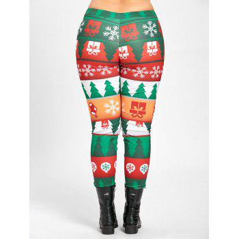 Plus Size Christmas Tree Tight Pants - GREEN XL