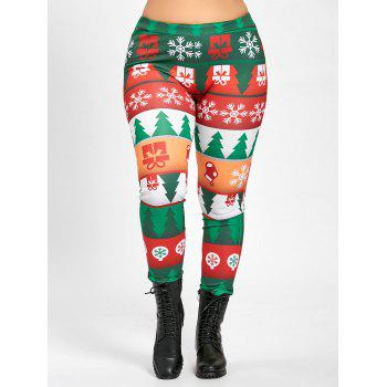 Plus Size Christmas Tree Tight Pants - GREEN 2XL