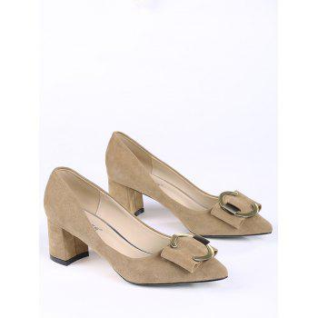 Buckle Strap Metal Pointed Toe Pumps - 39 39