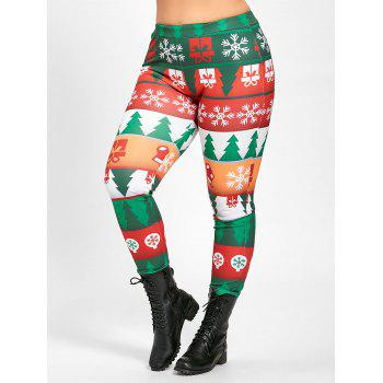 Plus Size Christmas Tree Tight Pants - GREEN GREEN