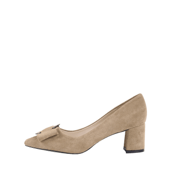 Buckle Strap Metal Pointed Toe Pumps - CAMEL 37