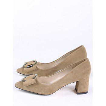 Buckle Strap Metal Pointed Toe Pumps - CAMEL 35