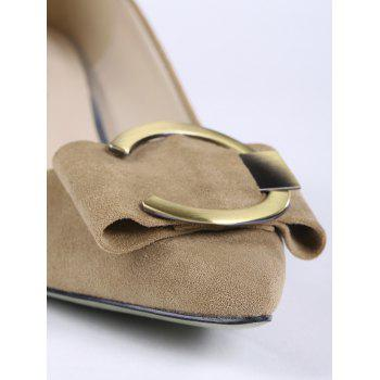 Buckle Strap Metal Pointed Toe Pumps - CAMEL 36