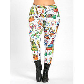 Plus Size Christmas Day Printed Leggings Pants - WHITE WHITE