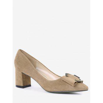 Buckle Strap Metal Pointed Toe Pumps - CAMEL 34