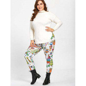 Plus Size Christmas Day Printed Leggings Pants - WHITE 5XL
