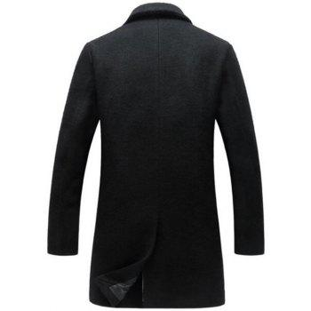 Lapel Collar Single Breasted Wool Blend Coat - BLACK 2XL
