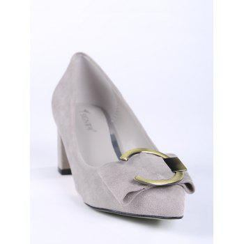 Buckle Strap Metal Pointed Toe Pumps - SUEDE ROSE 34