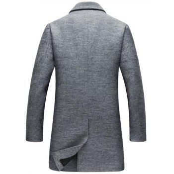 Lapel Collar Single Breasted Wool Blend Coat - GRAY 3XL